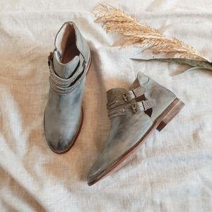 Free people Braeburn grey leather ankle botties
